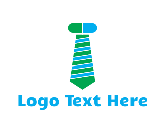 Necktie - Green & Blue Screw Tie logo design