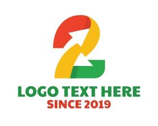 Tradesman - Colorful Number 2 Arrow logo design