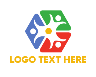 People - Colorful Cube People logo design