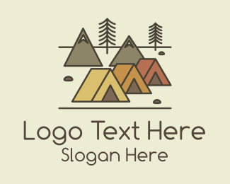Outdoor Activity - Tent Forest Camping logo design