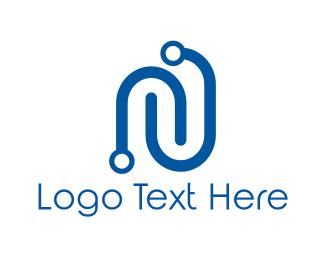 It Company - Circuit Letter N logo design