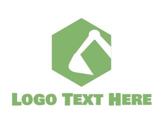 Shovel - Green Earthmover logo design