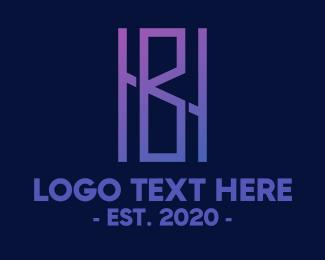 Hb - Violet Monogram HB logo design