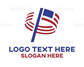 American Flag - American Waving Flag logo design
