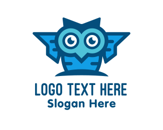 Geek - Blue Genius Owl logo design