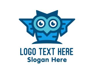Geek - Blue Genius Owl logo design
