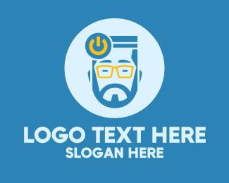 On - Hipster Power Guy logo design