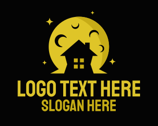 Night Time - Moon Light House logo design