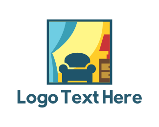 Curtains - Furniture & Decor logo design