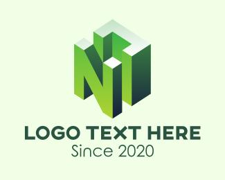 Block - 3D Green Letter N logo design