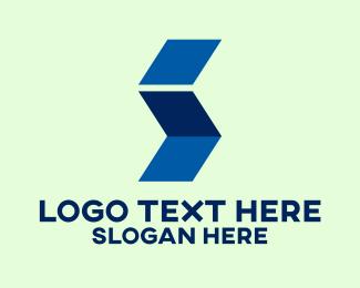 Parallelogram - Geometric Folded Letter I  logo design