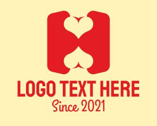 Flirt - Red Love Letter H logo design