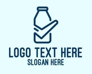 Fresh Milk - Blue Check Milk Bottle logo design