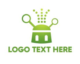 Geek - Green Robot logo design