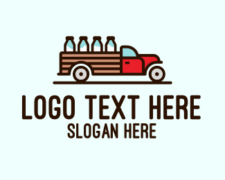 Fresh Milk - Milk Truck Delivery logo design