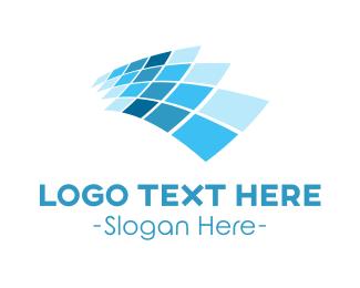 Virtual - Blue Tech Screen logo design