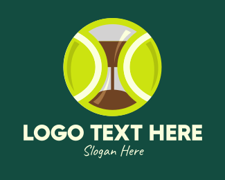 Tennis Coach - Green Tennis Ball Hourglass logo design