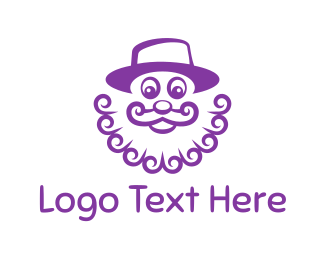 Mustache - Purple Clown logo design