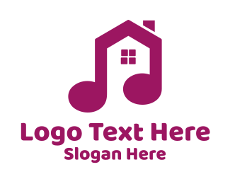 Purple Note - Purple Music Note House logo design