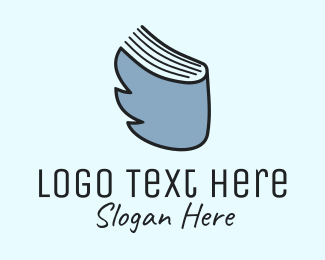 Blue Feather - Bird & Book logo design