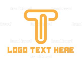 File Transfer - Orange T Clip logo design