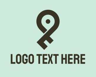 Accommodation - Key Location Pin logo design
