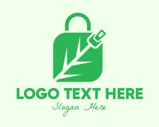 Enviroment - Green Leaf Zipper Shopping Bag logo design