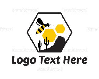 Cactus - Bee Desert logo design