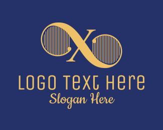 Theatre - Harp Strings Letter X logo design