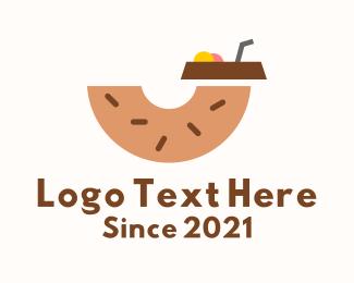 Milkshake - Donut Dessert Drink logo design