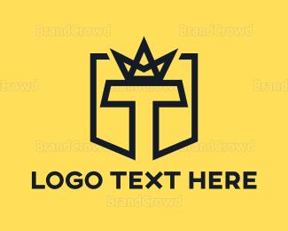 Computer - Black T Crown logo design