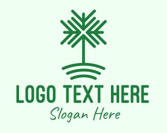 Hillside - Minimalist Arrow Tree logo design