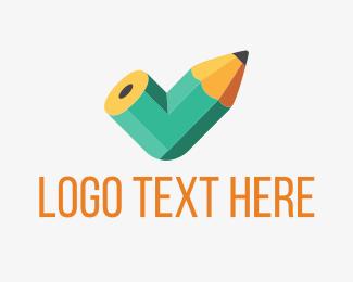 Tick - Bent Pencil logo design