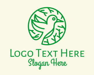 Nightingale - Green Hummingbird Nature logo design