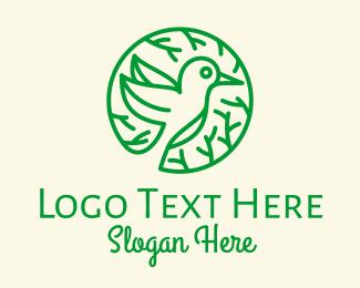 Forest Animal - Green Hummingbird Nature logo design