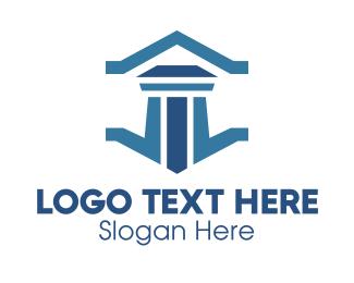 Government - Professional Legal Courthouse Pillar logo design