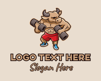 Buff - Weightlifting Bull  logo design