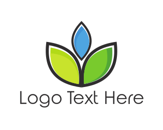 Botanical - Blue Flower logo design