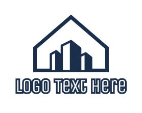 Buildings - Blue House Buildings logo design