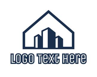 Homestead - Blue House Buildings logo design
