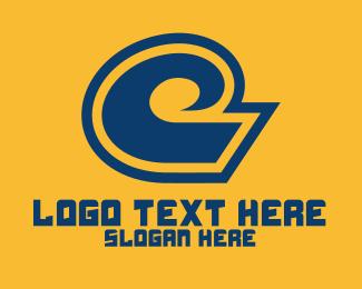 Curved - Blue Wave Beach logo design