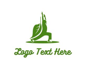 Pilates - Green Yoga Leaf logo design