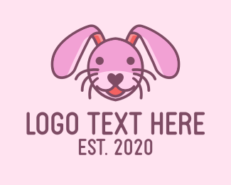 Plushy - Pink Rabbit logo design
