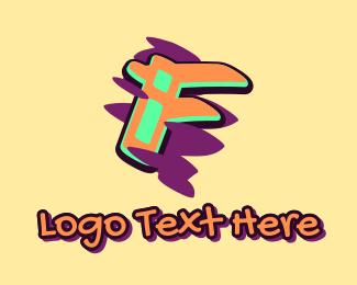 Arts - Graffiti Art Letter F logo design