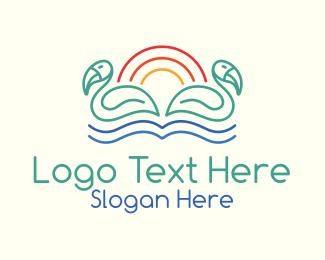 Swim - Tropical Summer Birds logo design