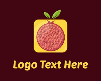 Burgundy - Red & Yellow Pomegranate  logo design