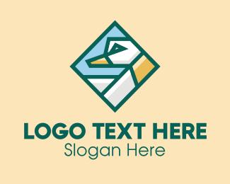 Farm Animal - Geometric Duck Diamond  logo design
