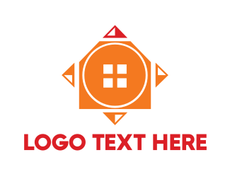 Orange House - Orange Geometric House logo design