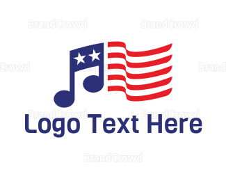 American Flag - American Musician  logo design
