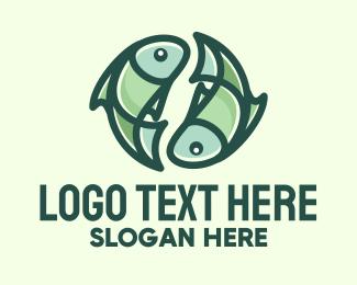 Astrologist - Green Pisces Fish Symbol logo design